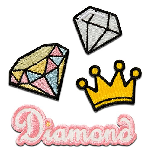 Parches - Set corona diamante Diamond - rosa/amarillo - diferentes tamaños - termoadhesivos...