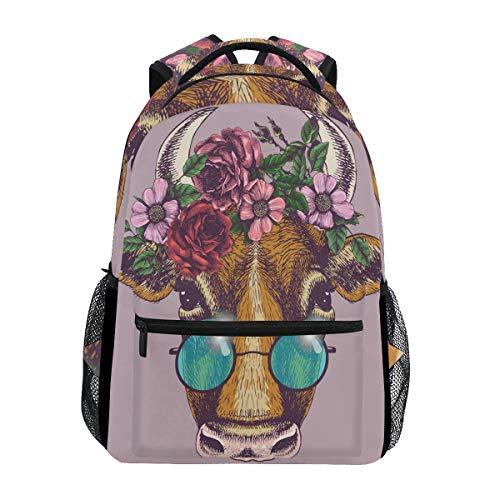 Wamika Mochila de Vaca con diseño de Corona Floral y Cuerno de Buey, Impermeable, para la Escuela,...