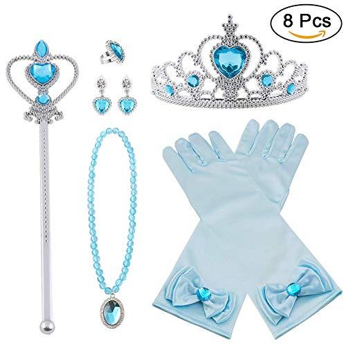 Vicloon Princesa Vestir Accesorios 8 Pcs Regalo Conjunto de Belleza Corona Anillo Sceptre Collar...
