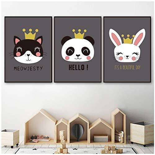 LIANGNIBAIHUO Decoración nórdica Home Cartoon Art Poster Fox Panda Rabbit Cat Bear Crown Canvas...