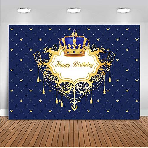 Mehofoto Feliz Cumpleaños Foto Telón de Fondo Azul Real Little Prince and Princess Crown Telones...