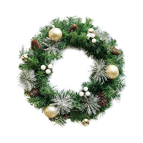 NIKKY HOME Corona de Navidad con piñas y Bolas de Oro Guirnaldas de Copos de Nieve - 45 x 45 cm