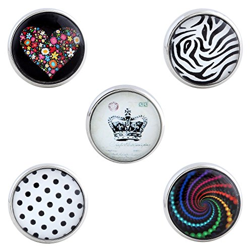 Morella–® de mujer Click Button Set 5Unidades Botones de presión, corona patrón y...
