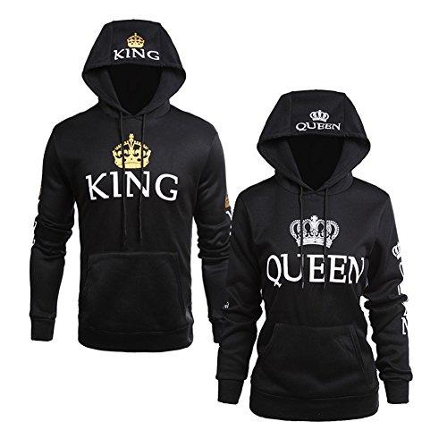 Minetom Moda Hombre y Mujer Pareja Impresión Corona King & Queen Sudaderas con Capucha Manga Larga...