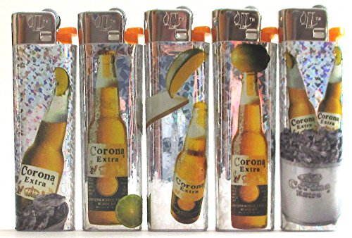 LIGHTERS Lot de 5Corona Cerveza mecheros Desechables Conjunto Completo Nuevo
