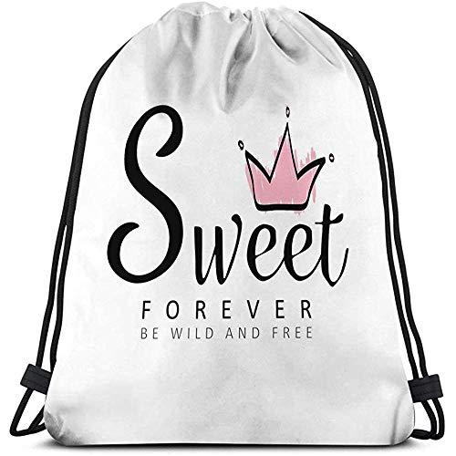 BOUIA Gym Travel Yoga Casual Drawstring Bag Slogan Dulce Letras Rosa Corona tipografía Imprimir