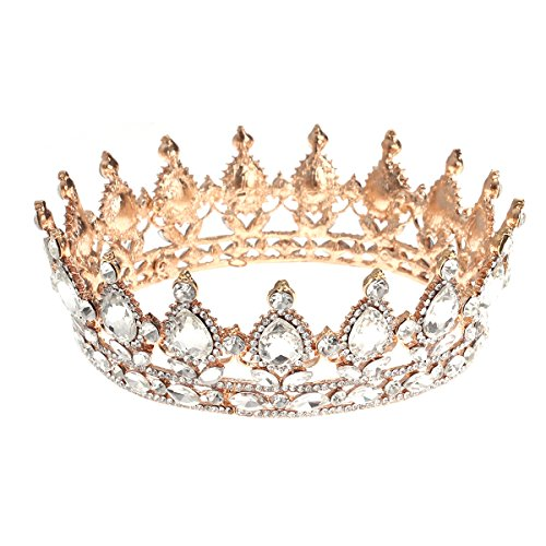 Frcolor Vintage Tiara Crown, Crystal Rhinestone Pageant Queen Crown Tiara Hair Jewelry