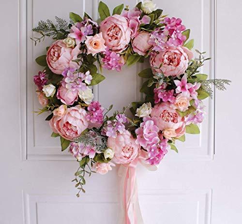 AILINDA Corona de peonía diseño Floral de Rosas, de 16 Pulgadas, Hecha a Mano, Vintage, con Flores...