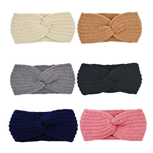 DRESHOW 6 Piezas Crochet Arco Turbante Knit Diadema Mujer Invierno Vendas Elasticas Anchas Tejida...