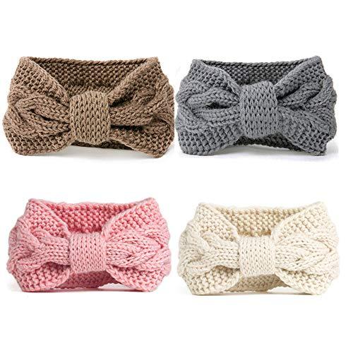 DRESHOW 4 Piezas Crochet Arco Turbante Knit Diadema Mujer Invierno Vendas Elasticas Anchas Tejida...