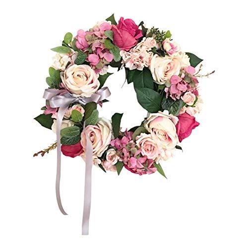 Blanchel Guirnalda de flores de rosa de peonía artificial rosa de forma redonda lazo floral para...