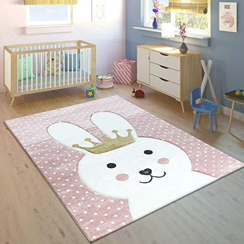 Paco Home Alfombra Infantil Conejo con Corona Gris Moderno, tamaño:80x150 cm