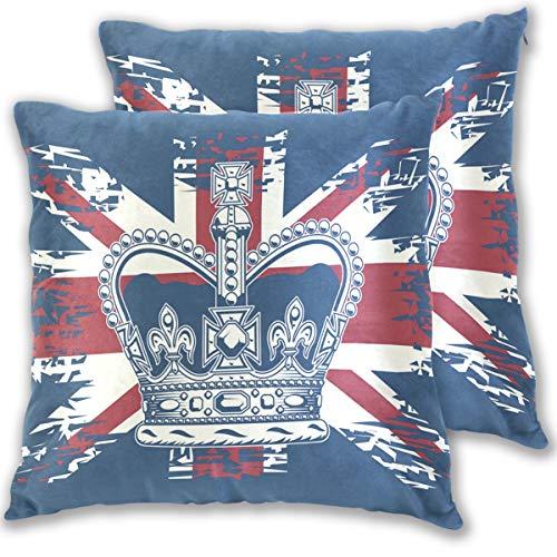 BEUSS Corona Reino Unido Bandera Azul Funda de Almohada Cuadrada Decoración Sala de Estar Funda de...