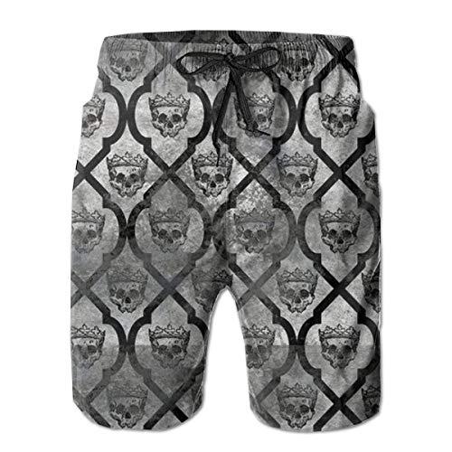 Abfind Pantalones Cortos de Nadar para Hombres Corona de Plata Cráneo Pantalones Cortos de Playa de...