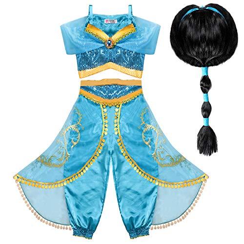 Tacobear Disfraz Jasmine Niña con Peluca Princesa Jasmine Vestido Traje Princesa Jasmine para...