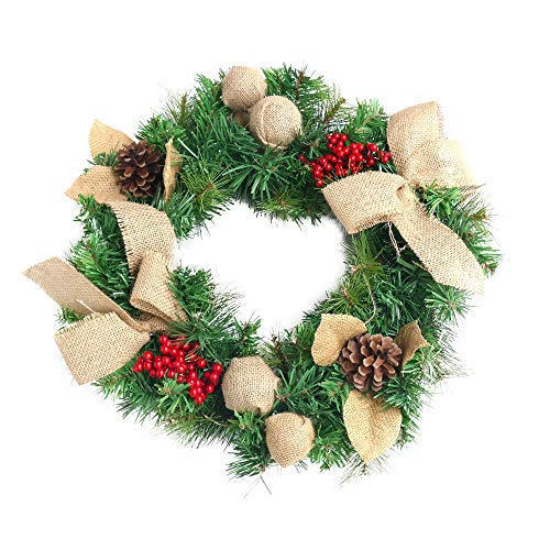 NIKKY HOME Christmas Wreath with Pine Cones Barries Linend Bowknots and Balls Garlands - 45 x45 cm