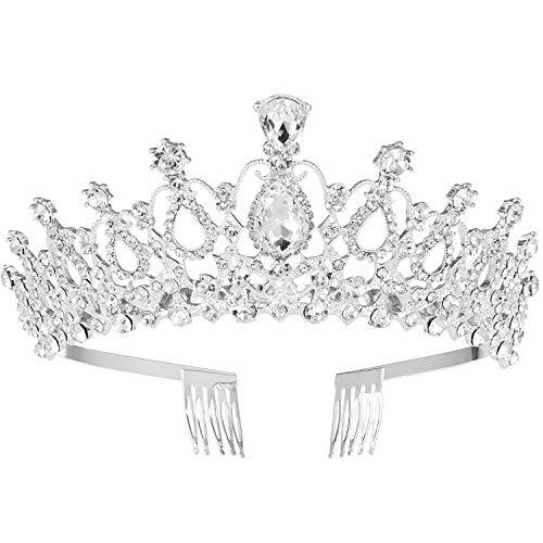 MaoXinTek Diadema Corona Tiara con Peine Hairband de Cristal Diamantes de imitación Fiesta Boda...