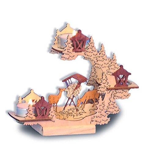 Unbekannt Portavelas Madera Cristal Decoración de Adviento Navidad Reno