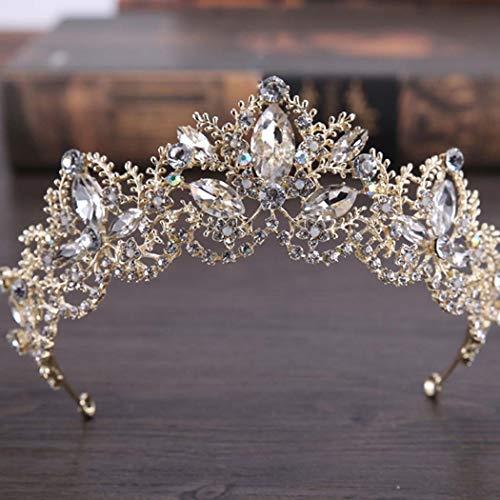 Tiara de Boda simbólica, Coronas de Flores para Novia para Mujer (Oro) HG-25 (Oro 7)