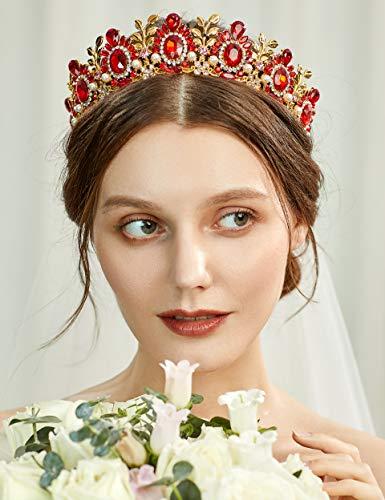 Coucoland Tiara de novia de princesa, corona de reina para disfraz, accesorio para fiesta de...