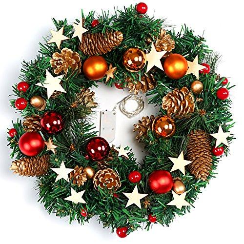Naler Guirnalda de Corona de Navidad Puerta Decoración Navideña con Bolas Piñas Conos con Luz...