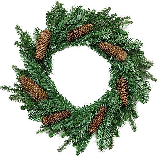 com-four® Corona de Navidad - Corona de Adviento con piñas de Abeto Real - Decoración navideña -...