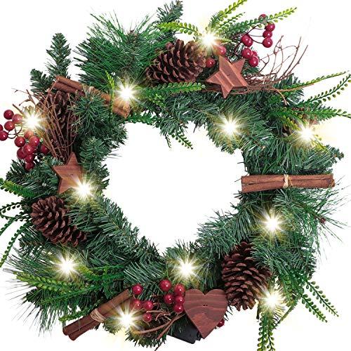 Valery Madelyn 45cm Pre-Lit Corona de Navidad Grande, Rojo Blanco 20 Luces LED con 8 Modos, Base de...