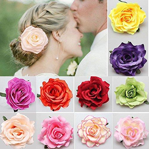 Clips de Pelo de Flor,Hebillas de Pelo de Flor 10 piezas Multicolor Rosa Clips de Pelo de Flor para...