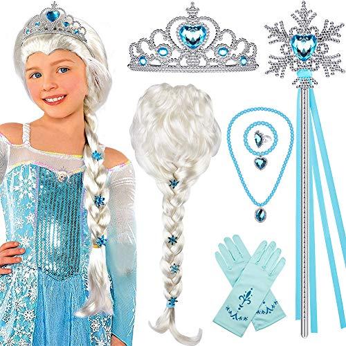 Tacobear Princesa Frozen Disfraz Accesorios Elsa Peluca Trenza Princesa Collar Corona Guantes...
