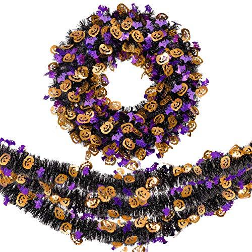 Valery Madelyn Adornos Decoraciones de Halloween, 45cm LED Corona de Puerta con Sombrero de Bruja y...