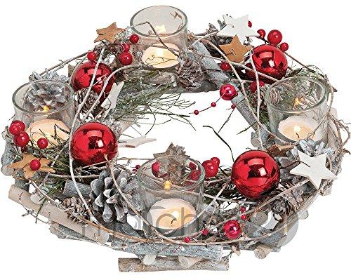 Corona de adviento de madera, redonda, 29x 8cm, con vasos portavelas y decoración navideña,...