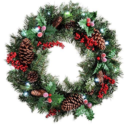 WeRChristmas - Corona de Navidad con iluminación (60 cm, piñas Naturales y Bayas, 20 Bombillas...