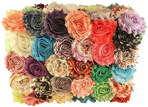 Pack de 50 flores de tejido de gasa para manualidades, varios colores y estampados.